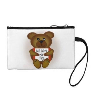 Cartoon Bear Will Work For Hugs Coin Wallet