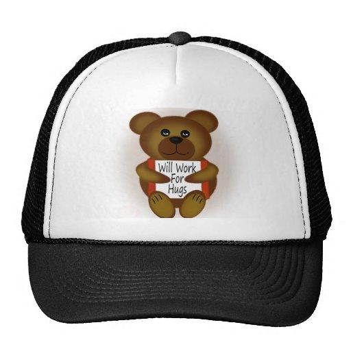 Cartoon Bear Will Work For Hugs Trucker Hat