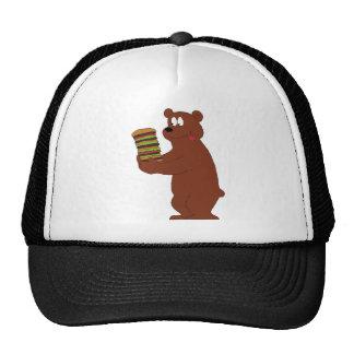 Cartoon Bear With Huge Hamburger Cap