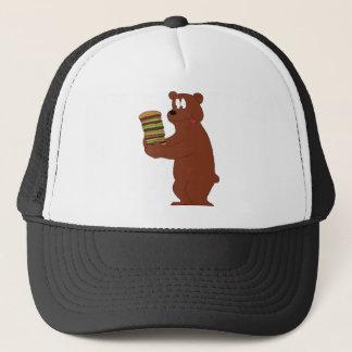 Cartoon Bear With Huge Hamburger Trucker Hat