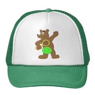 Cartoon Bear With Tennis Racket Trucker Hats
