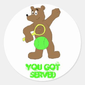 Cartoon Bear With Tennis Racket Round Sticker