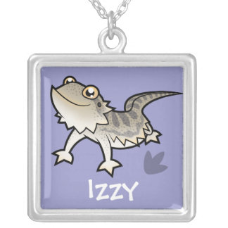 Cartoon Bearded Dragon / Rankin Dragon Square Pendant Necklace