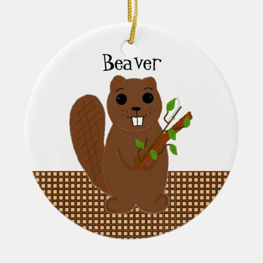 Cartoon Beaver Christmas Ornament
