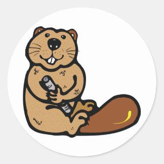 Cartoon Beaver for International Beaver Day Classic Round Sticker