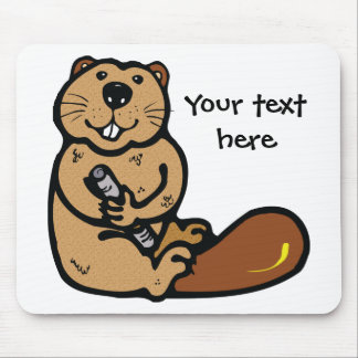 Cartoon Beaver for International Beaver Day Mouse Mat