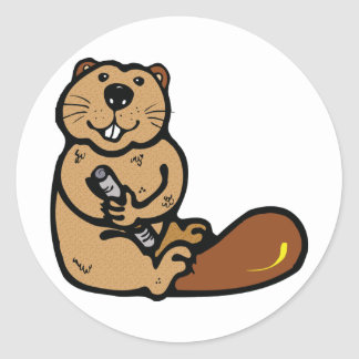 Cartoon Beaver for International Beaver Day Round Sticker