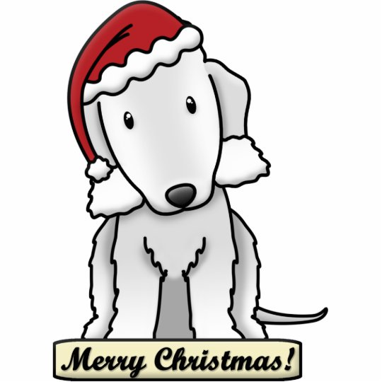 Cartoon Bedlington Terrier Christmas Ornament Photo Sculpture