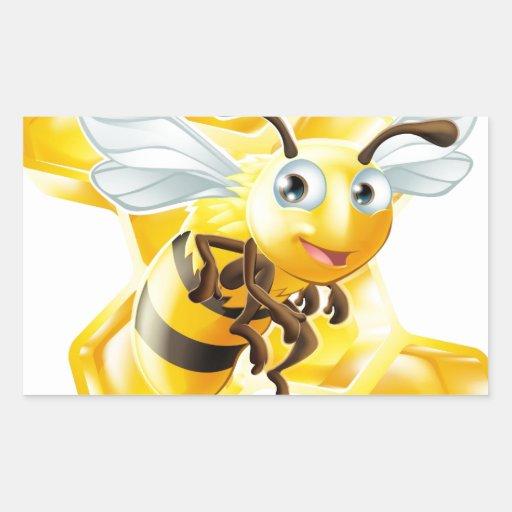 Cartoon Bee and Honey Comb Stickers