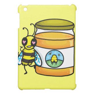 Cartoon bee leaning on honey jar case for the iPad mini