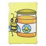 Cartoon bee leaning on honey jar iPad mini cases