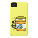 Cartoon bee leaning on honey jar iPhone 4 covers