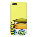 Cartoon bee leaning on honey jar cover for iPhone 5