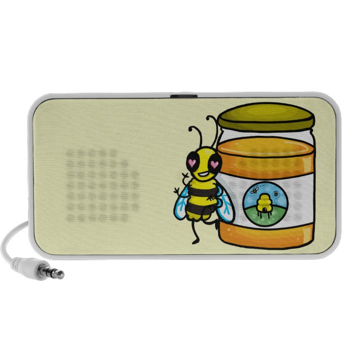 Cartoon bee leaning on honey jar iPhone speaker