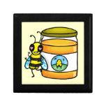 Cartoon bee leaning on honey jar keepsake box