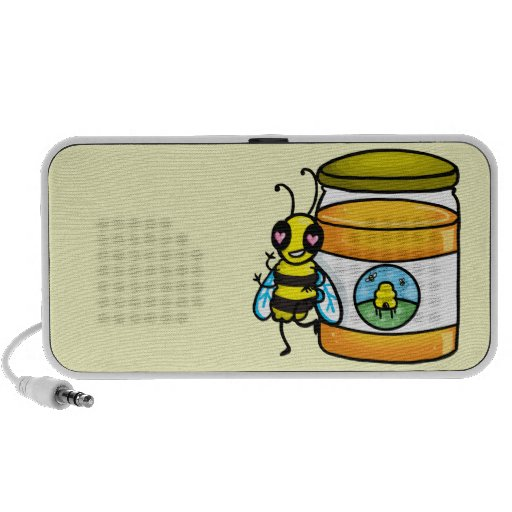 Cartoon bee leaning on honey jar travelling speakers