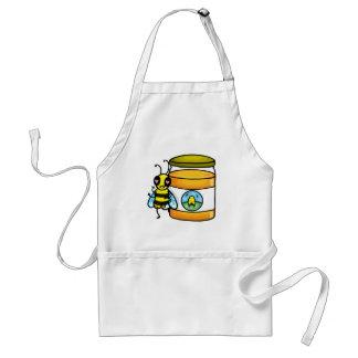 Cartoon bee leaning on honey jar standard apron