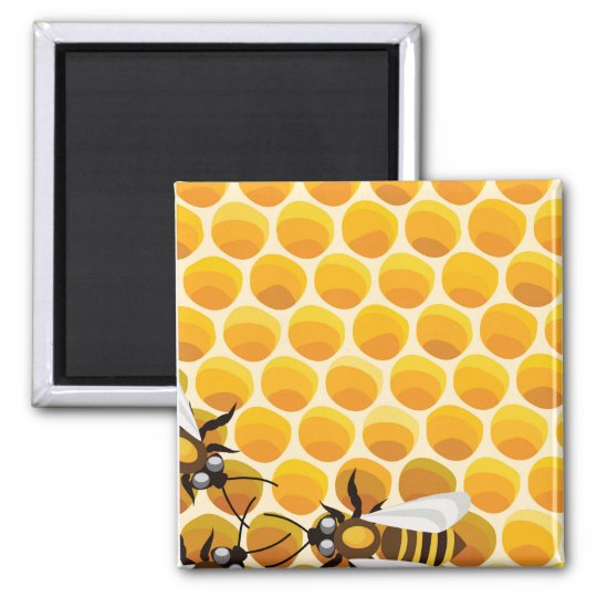 Cartoon Bees & Honeycomb Square Magnet