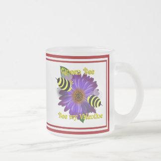Cartoon  Bees Meeting on Purple Flower Valentine Mug
