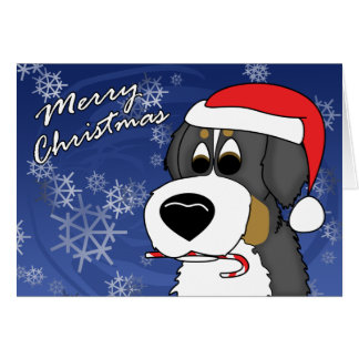 Cartoon Bernese Mountain Dog Christmas Card