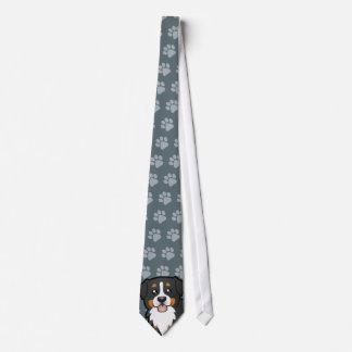 Cartoon Bernese Mountain Dog Tie