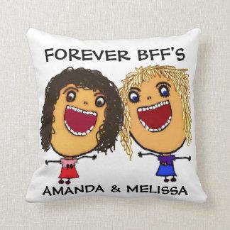 Cartoon Best Friend BFFs Blonde and Brunette Cushion