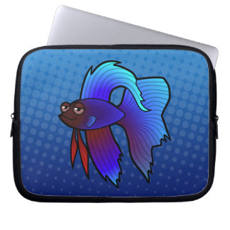 Cartoon Betta Fish / Siamese Fighting Fish Laptop Sleeve