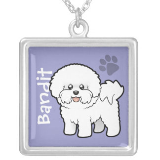 Cartoon Bichon Frise (add your pets name) Silver Plated Necklace