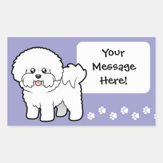 Cartoon Bichon Frise Rectangular Sticker