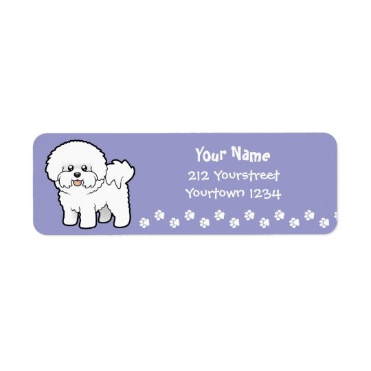 Cartoon Bichon Frise Return Address Label