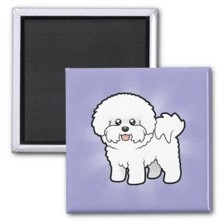 Cartoon Bichon Frise Square Magnet