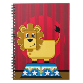 Cartoon Bigtop Circus Lion on Podium Notebook