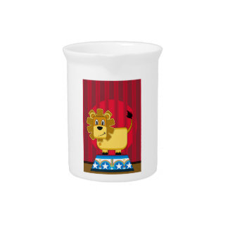 Cartoon Bigtop Circus Lion on Podium Pitcher