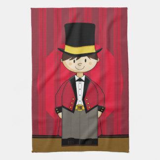 Cartoon Bigtop Circus Ringmaster Tea Towel