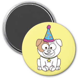 Cartoon Birthday Bulldog 7.5 Cm Round Magnet