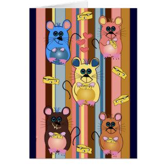 Cartoon birthday card with mice & cheese