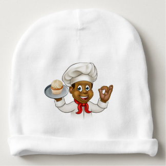 Cartoon Black Baker or Pastry Chef Baby Beanie