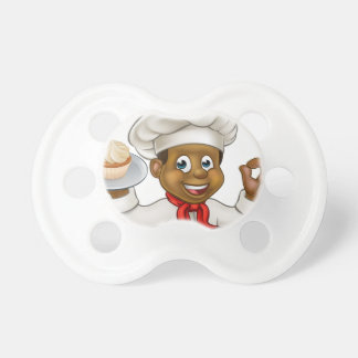 Cartoon Black Baker or Pastry Chef Baby Pacifier