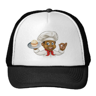 Cartoon Black Baker or Pastry Chef Cap