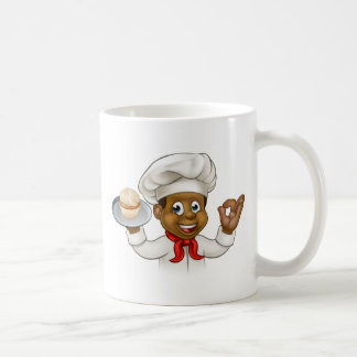 Cartoon Black Baker or Pastry Chef Coffee Mug