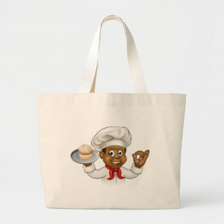 Cartoon Black Baker or Pastry Chef Large Tote Bag