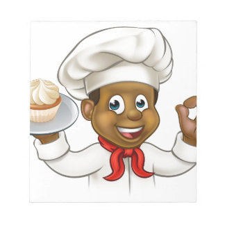 Cartoon Black Baker or Pastry Chef Notepads
