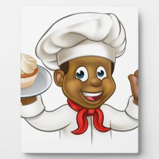 Cartoon Black Baker or Pastry Chef Photo Plaque