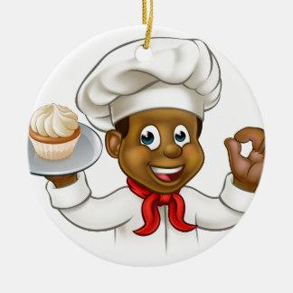Cartoon Black Baker or Pastry Chef Round Ceramic Decoration