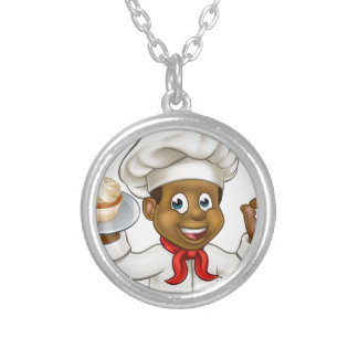 Cartoon Black Baker or Pastry Chef Silver Plated Necklace
