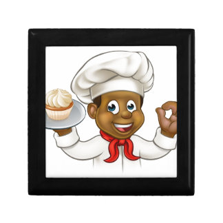 Cartoon Black Baker or Pastry Chef Small Square Gift Box