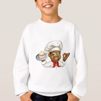 Cartoon Black Baker or Pastry Chef Sweatshirt