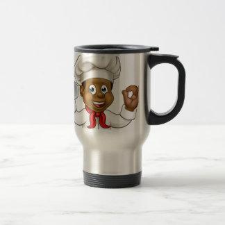 Cartoon Black Baker or Pastry Chef Travel Mug