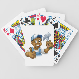 Cartoon Black Carpenter Character Bicycle Playing Cards