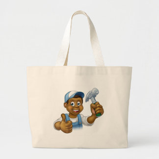 Cartoon Black Carpenter Character Large Tote Bag